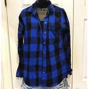 OLD NAVY BOYFRIEND Fit Blue Flannel
